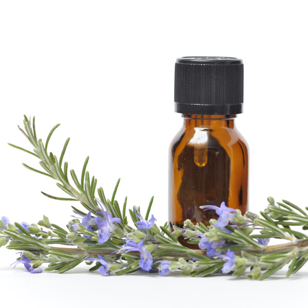 Rosemary Essential Oil with Sprigs of Fresh Rosemary